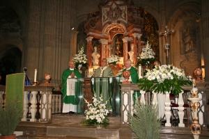 Mons. Javier Martínez preside la Eucaristía, junto a D. Juan Gutiérrez (izda) y D. Carlos del Castillo (dcha).