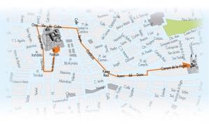 Mapa con el recorrido de la Gran Peregrinación Mariana.