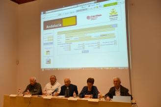 De izquierda a derecha: D. José Martínez, D. Alfonso Marín, D. Manuel Reyes, Dña. Mª Antonia Avilés y D. Onofre Núñez.